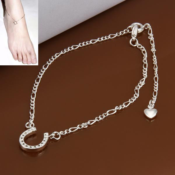 925 silver beach wedding sandals bijoux sexy foot bracelet Semicircle pendant boot jewelry chains rhinestone slave anklet - On Trends Avenue