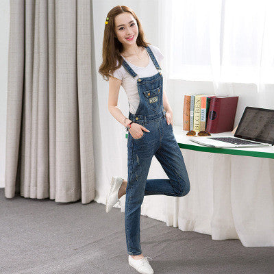 Women Pockets Jumpsuit New Fashion Plus Size Korean Denim Jumpsuits Overalls Casual Loose Girl Pants Jeans Rompers Playsuit B147 - On Trends Avenue