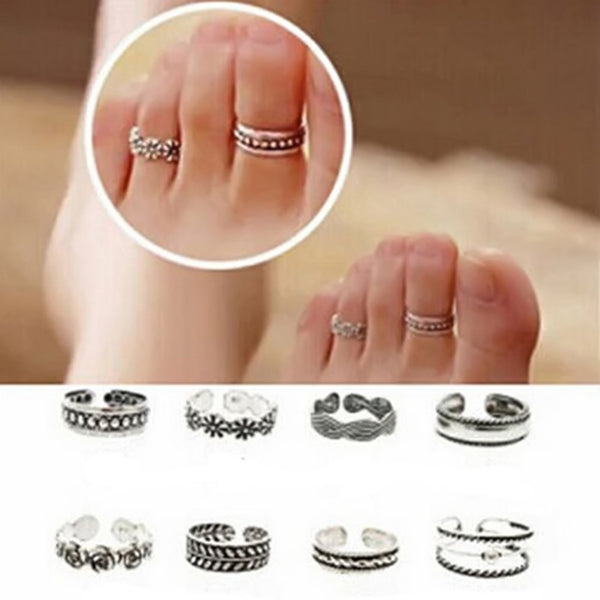 Women Lady Unique Adjustable Opening Finger Ring Fashion Simple Sliver Plated Retro Carved Flower Toe Ring Foot Beach Jewelry - On Trends Avenue