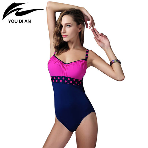 Hign Quality Lovely Rose Red & Blue Assorted Colors Wave Point Design Push Up Girls Womens Swimsuits Maillot De Bain XXXL - On Trends Avenue