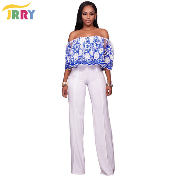 JRRY Fashion Strapless Floral Pattern Loose Women Jumpsuit Embroidery Flowers Top White Long Pants Ladies Romper - On Trends Avenue