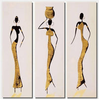 100% Hand Painted Abstract African Women Painting On Canvas 3 Piece Wall Art Home Decor Modern Pictures Oil Paintings 3 Panel - On Trends Avenue
