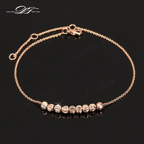 Double Fair Simple Style Metal Beads Anklets Chain Rose Gold Color/Silver Tone Fashion Jewellery/Jewelry For Women DFA020 - On Trends Avenue