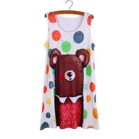 Cartoon Bulldogs print women mini dress Fashion girls must have summer dresses casual ladies vestidos wholesale - On Trends Avenue