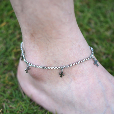 DIY 316L Stainless Steel Anklet Chain with Small Cross charms Stainless Steel Ankle Bracelet Foot Jewelry A002 - On Trends Avenue