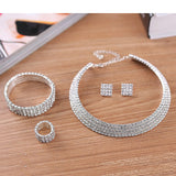 2-5 Rows Rhinestone Crystal Wedding Jewelry Set Bridal Necklace Earrings Bracelet & Ring Set Hot Sale 2017 - On Trends Avenue
