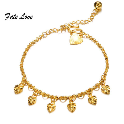 Casual  Charm Gold  Plated Heart  Anklets for Women Love  Ankle Bracelet Chain Foot Jewelry with Extended Link FL724 - On Trends Avenue
