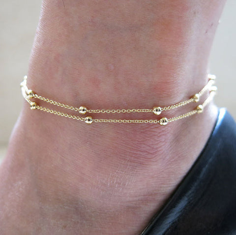 Golden Silver Chic Concise Double Layer Bridal Wedding Anklets Chain Charm Beads Leg Bracelet Anklets Foot Jewelry For Women - On Trends Avenue
