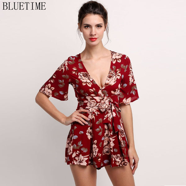 One Piece Jumpsuit Sexy Short Sleeve Floral High Waist Playsuit Rompers Womens Jumpsuit - On Trends Avenue