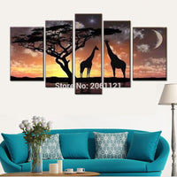 100% Hand Painted 5pcs home decorative wall painting african starry night scenery Landscape Canvas Oil Painting gifts - On Trends Avenue