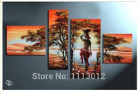 African Modern Abstract Nude Sexy Nude Women Tree Oil Painting On Canvas 4 Panel Art Set Home Wall Decorative For Living Room - On Trends Avenue