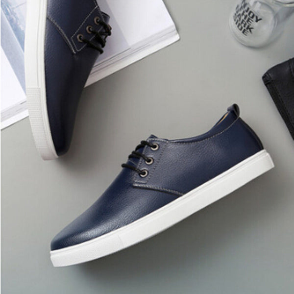 The autumn and winter new men's casual shoes Genuine leather lace With velvet motion Oversized shoes 45-49