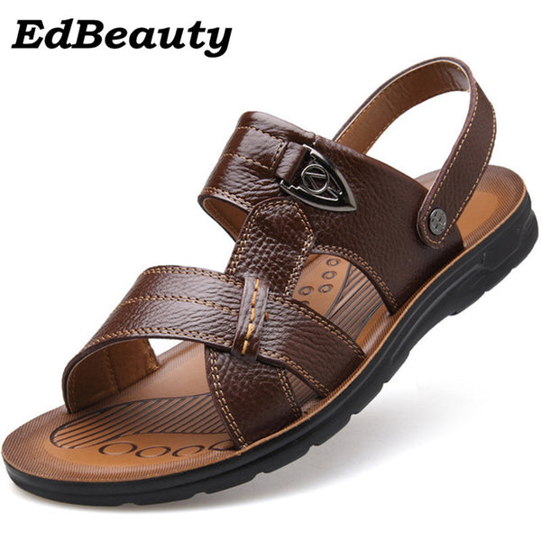 High quality Summer style Beach Sandals Men Shoes, 2017 New Arrival Leather Casual Sandals Two modes big size 35-47 Black, brown - On Trends Avenue