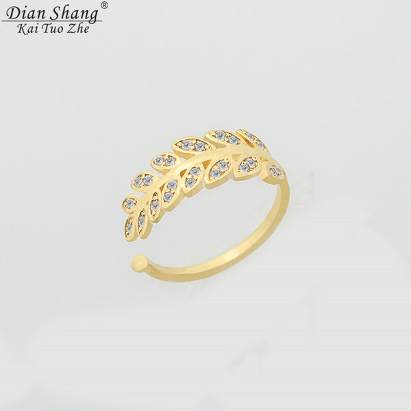 DIANSHANGKAITUOZHE Minimalist Anel Gold Colour Toe Rings CZ Leaf Ring For Women Masonic Jewelry Anelli Donna Bridesmaid Gift - On Trends Avenue