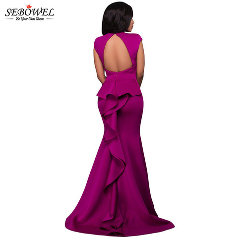 Vintage High Neck Floor-length Elegant Peek a boo Formal Dress - On Trends Avenue
