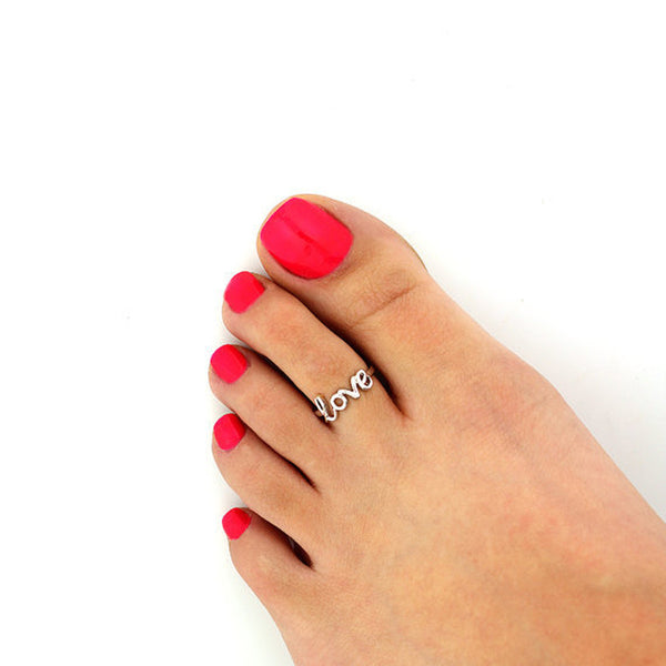 Tomtosh Fashion Europe Style Punk Celebrity Fashion Simple Gold Silver Retro Love Toe Ring Beach Foot Jewelry