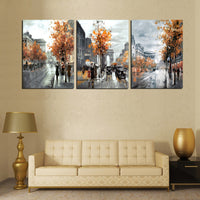 3 Piece Modern Painting Calligraphy Vintage Abstract City Street Poster Arts Oil Paintings On Canvas Prints Home Decor No Frame - On Trends Avenue