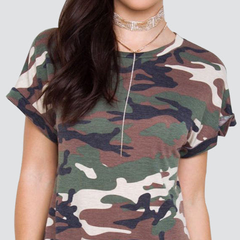 Camo Camouflage Printed Short Sleeve Summer Dress - On Trends Avenue