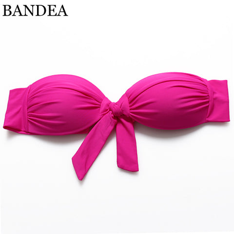 Bikini Top New Women's Candy Color Bandeau bikini Bow Swimsuit Bathing Suit Biquini Swimwear Strappy Bra - On Trends Avenue