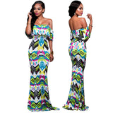 2017 Fashion Women Ruffles Dress Bohemia Off the Shoulder Maxi Dresses For Break Summer Holiday - On Trends Avenue