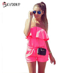 2017 Women Fashion Jumpsuit Strapless ruffles Regular casual Womens romper plus size candy color Summer shorts - On Trends Avenue