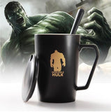 New Avengers Ceramic Coffee Mug with Cover Creative Hero Lovers Cup Spoon - On Trends Avenue