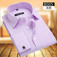 Business Shirt Mens Long Sleeve Slim Fit French Cuff Shirts Luxury Formal Checked Tees For Gifts