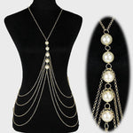 Summer Sexy Imitation Pearl Body Chain Women Punk Exaggerated Multilayer Tassel Necklace 2017 Female Fashion Jewelry - On Trends Avenue
