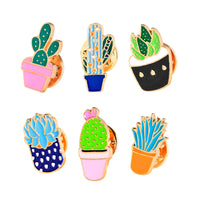 6 Pcs/set Colorful Enamel Pins Set Badge For Clothes Colorful Cartoon Brooches Succulents Plant Cactus Jacket Bag DIY Badge - On Trends Avenue