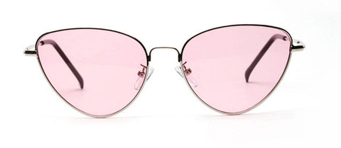 Peekaboo red cat eye sunglasses women clear lens sun glasses for women cat eye metal pink yellow uv400 - On Trends Avenue