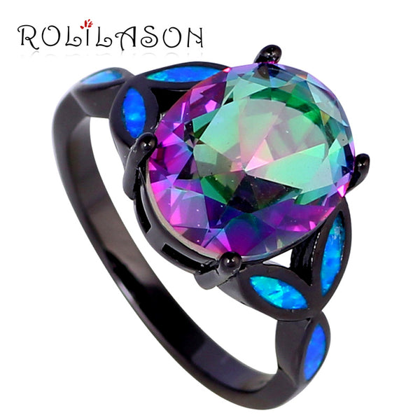 ROLILASON Women silver tone stamped Jewelry Mystic Rainbow Cubic zirconia Blue fire Opal ring fashion jewelry OR750 - On Trends Avenue