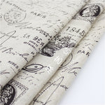 DIY Fabric! Vintage 59x39 in Retro Linen Fabric - Newspaper English Letter Mail Eiffel Tower Print Zakka Fabric
