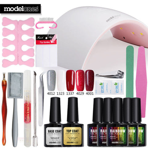Modelones Nail Gel Soak-off Gel polish Top & Base Coat gel nails polish kit 24w 9C lamp 5 colors art tools kits sets manicure - On Trends Avenue
