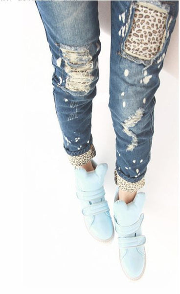 Funny Detailed Women Leopard Cutout Broken Ripped Amazing Jeans Jeggings - On Trends Avenue