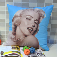 45* 45 CM Retro Vintage Marilyn Monroe Pop Art Quality Peach Skin Fabric Throw Pillow Case Pillowcase for Bedding , Blue - On Trends Avenue