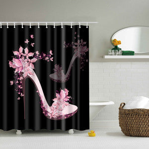 Pink High Heel Shoe Floral Shower Curtains Waterproof Bathroom Curtains Polyester 180x180cm Decoration With Hooks - On Trends Avenue
