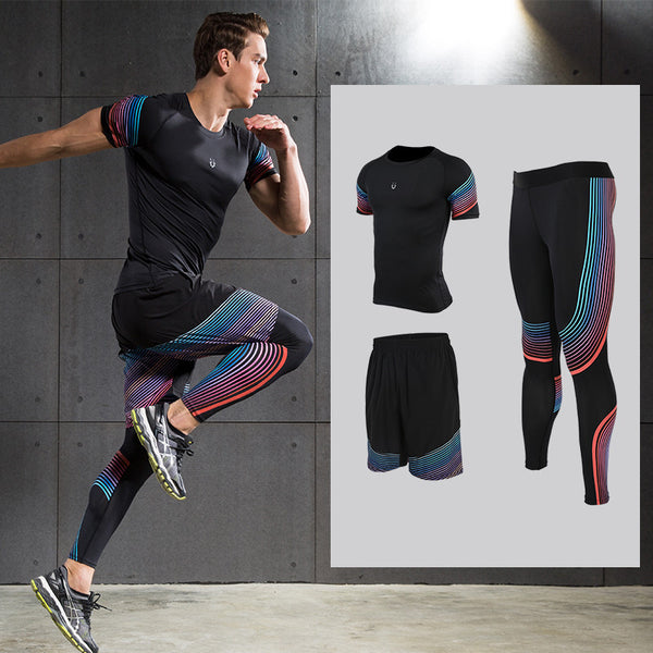 Men's Running Sets Sports Sets Compression Shirts Leggings with Shorts for Running Joggers Gym Fitness Ball games - On Trends Avenue