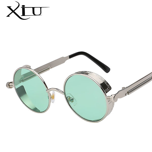 Gothic Steampunk Mens Sunglasses Coating Mirrored Sunglasses Round Circle Sun glasses Retro Vintage Gafas Masculino Sol - On Trends Avenue