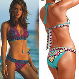 2pcs Swim Set Sexy Women's Ethnic Style Print Bandage Belt Bikini Push-up Padded Bra Swimsuit Bathing Suit Swimwear Beachwear - On Trends Avenue