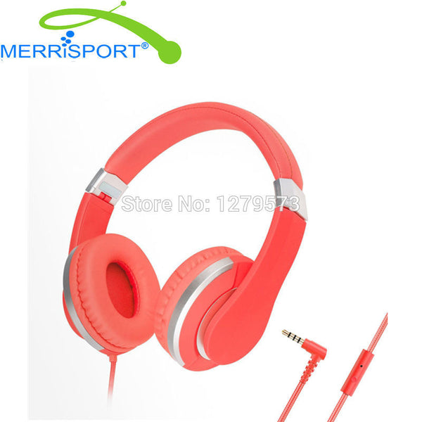 MERRISPORT Headphones Over Ear Stereo Headsets for Adults Kids Children Boys Girls for iPhone Samsung Smartphones Computer Red - On Trends Avenue