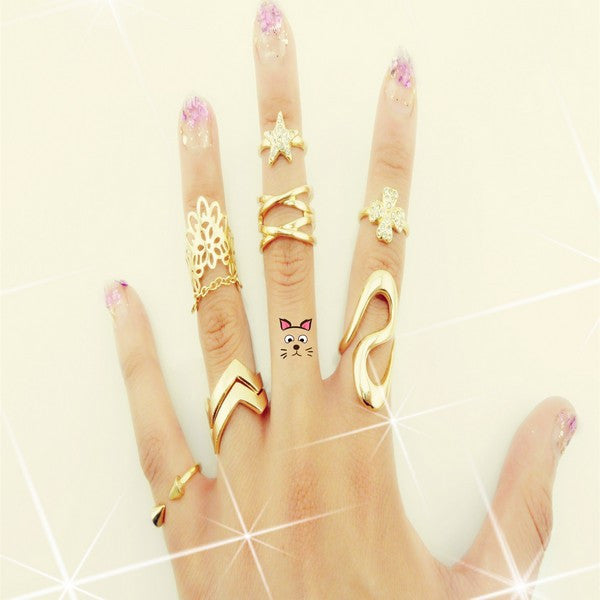 7 Pcs Punk style Midi ring sets Gold Color Knuckle Ring for women Finger ring Fashion accessories jewelry - On Trends Avenue