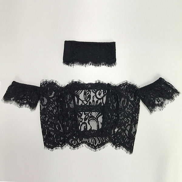 Women Tops And Blouses 2017 New Fashion Lace Crop Top Fashionable Bodycon Short Sleeve See Through Sexy Bralette S/M/L