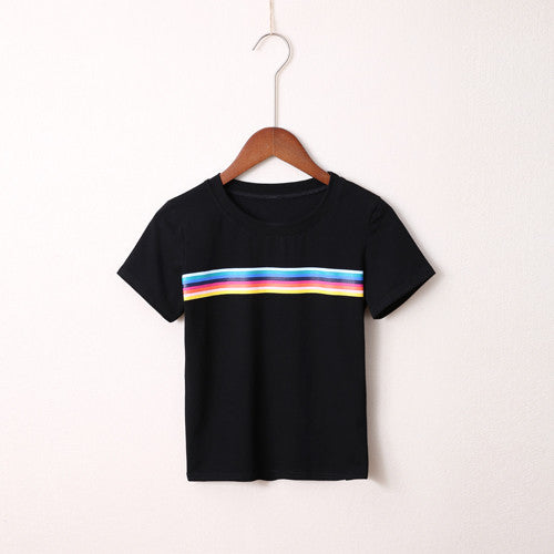 2017 New Fashion Summer Brand Classic Rainbow Printed Women O-neck Short-sleeved Street Style Cotton skinny Loose T-shirt - On Trends Avenue