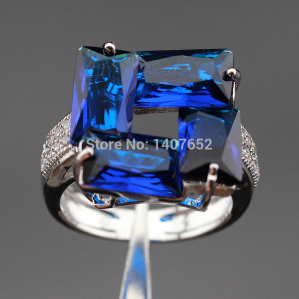 Laboratory Blue Stones White Cubic Zirconia Silver Color Wedding Rings For Women Jewelry Free Gift Box - On Trends Avenue