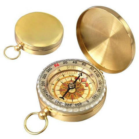 ELOS-Mini Compass Easy Classic Metal Brass Pocket Watch Style Camping Compass Outdoor Tools  Gift - On Trends Avenue