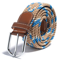 2017 Hot sell Fashion 31 Colors Men Women Canvas Plain Webbing Metal Spoon Woven Stretch Waist Belt - On Trends Avenue