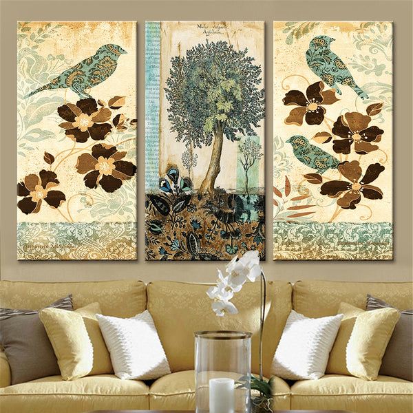 Animal Canvas Painting Frameless Home Decor Canvas Art Cartoon Bird Painting Modern Bedroom Canvas Pictures for Living Room 3pcs - On Trends Avenue