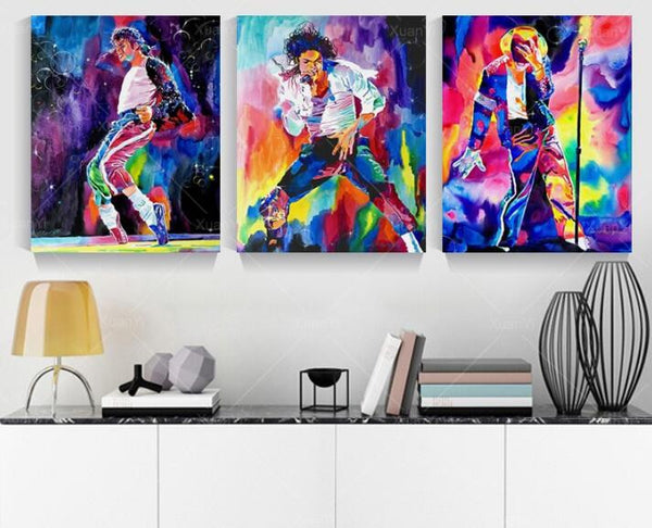 3 Panel Famous Star Michael Jackson Wall Art Picture Print Canvas Oil Painting by Numbers Unframed Home Decal - On Trends Avenue