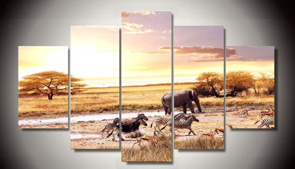 Hot Sale out Oil Painting Unframed African Landscape Zebra 5 Piece Painting Wall Art Room Decor Canvas Drop Shipping - On Trends Avenue