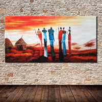 100% Handpainted Poster Wall Art Canvas Oil Painting Abstract Paintings African Tribes Wall Pictures For Living Room Wall Decor - On Trends Avenue